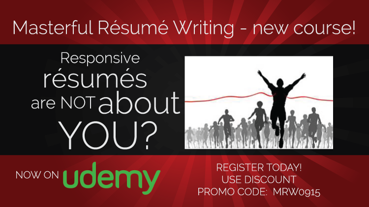 Udemy Promo Code Ad for Masterful Resume Writing Course